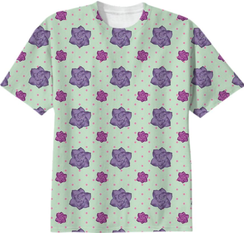 Polka Dots and Roses T Shirt