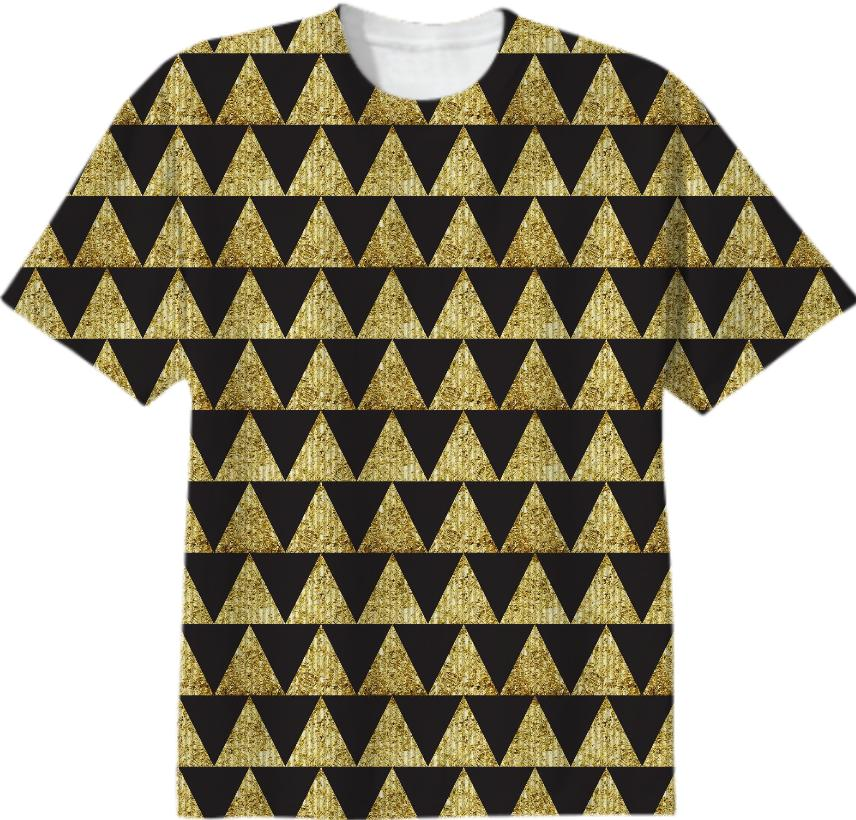 Triangles Black Gold T shirt