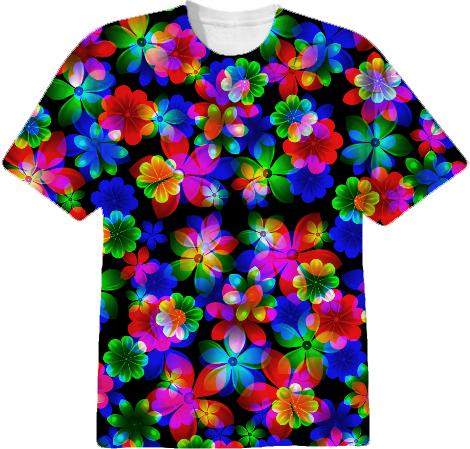 3D BOUQUET OF FLOWERS COTTON TSHIRT