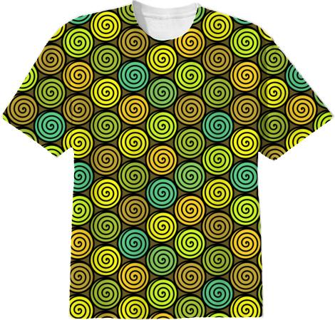 Black green and yellow spirals