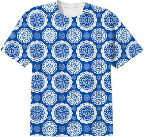 Blue and White Vintage Abstract Floral