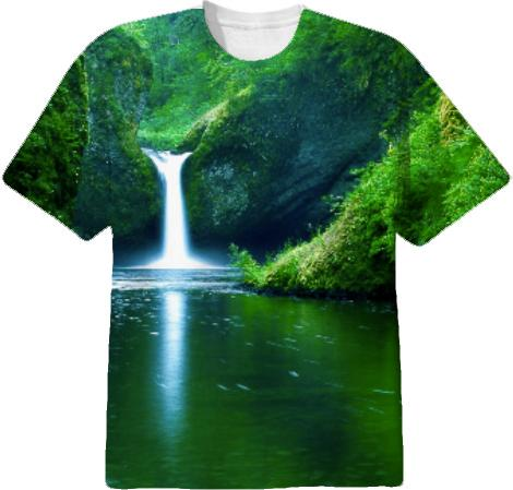 NATURE Green waterfall t shirt