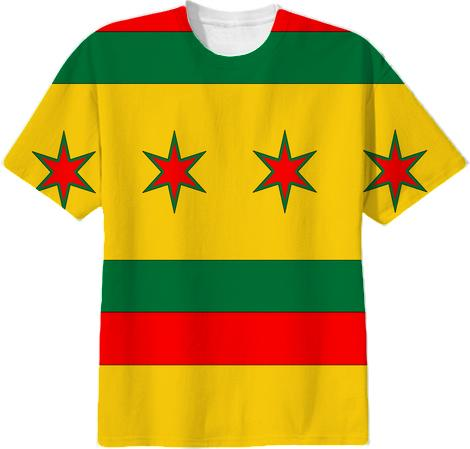 Rasta Colors Chicago Flag