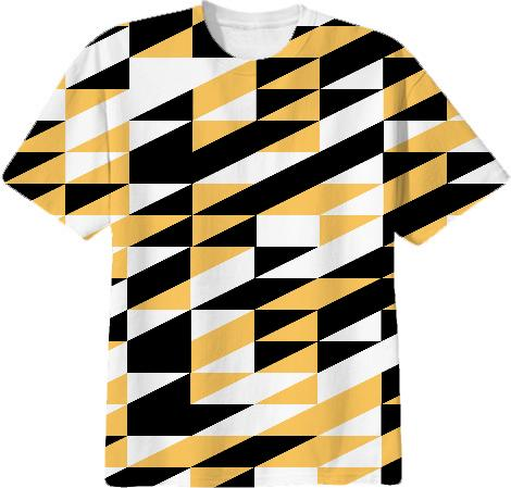Retro stylish geometric mustard and black design