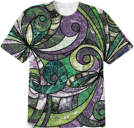 T SHIRT Drawing Floral Zentangle G17B