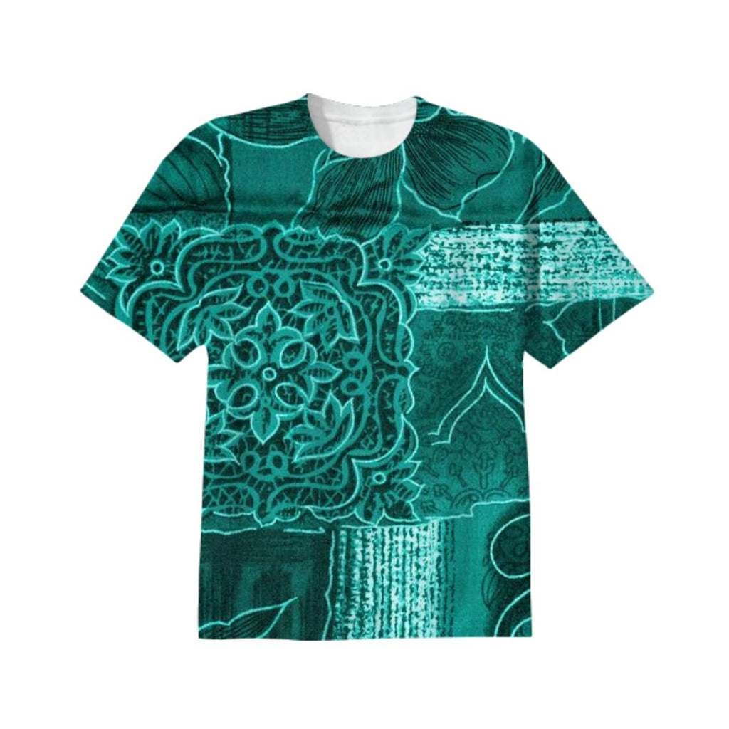 TURQUOISE PATCHWORK T SHIRT
