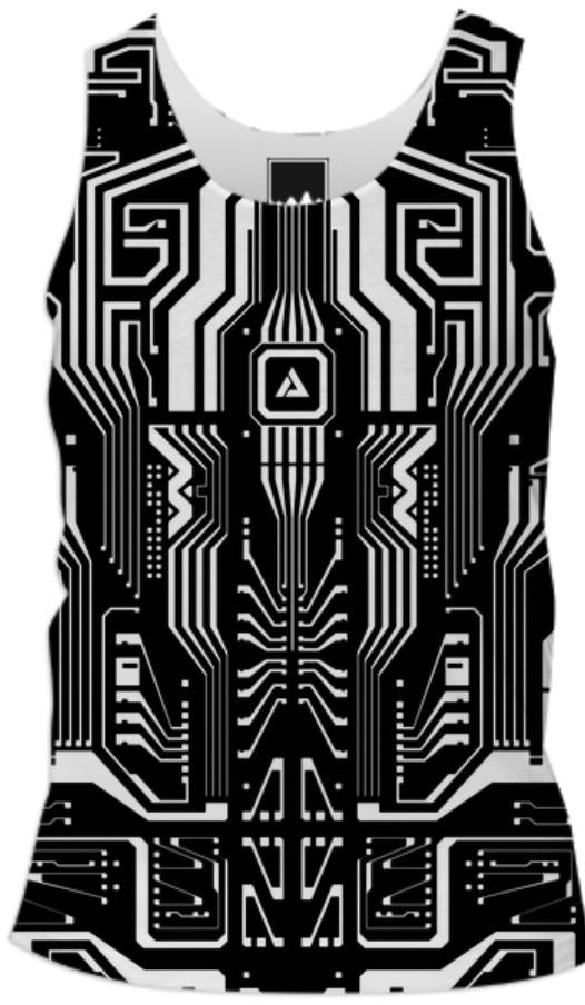 Circuitron Black and White Mens Tank Top