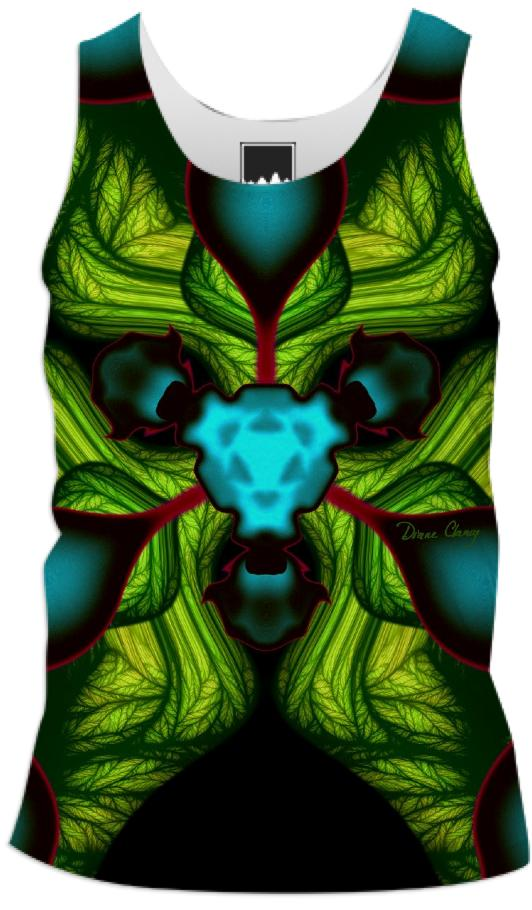 Demon Shadows Abstract Fractal Emerald and Yellow Mask