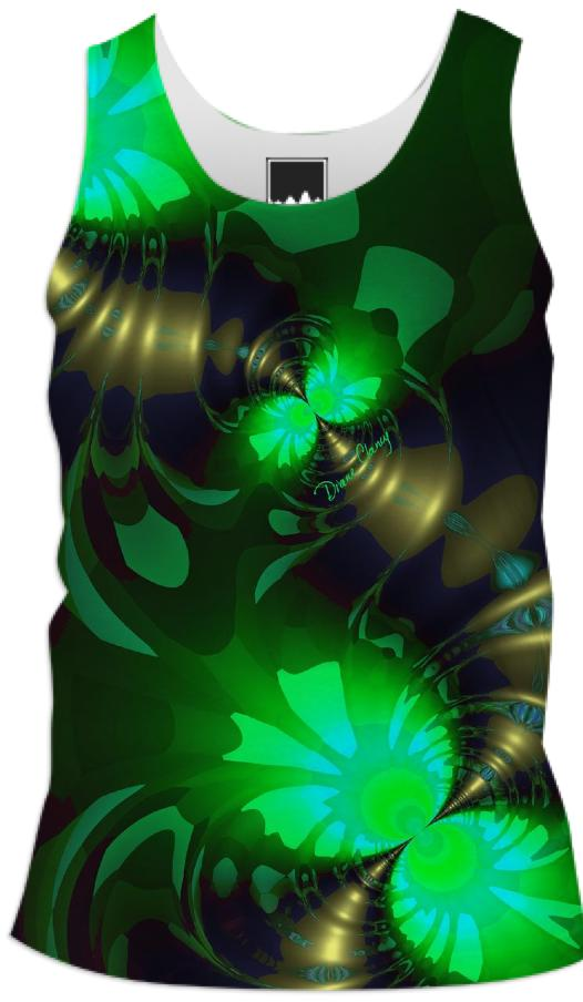 Irish Goblin Abstract Fractal Emerald and Gold Ribbons