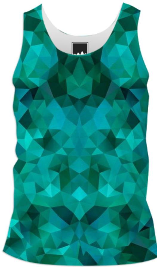 POLYGON TRIANGLES PATTERN GREEN EMERALD ABSTRACT POLYART GEOMETRIC