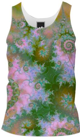 Rose Forest Green Abstract Fractal Swirl Dance