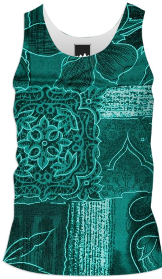 TURQUOISE PATCHWORK SHIRT
