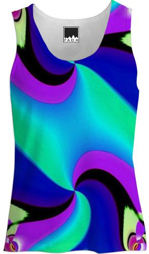 Aqua Navy Purple Double Swirl Tank Top