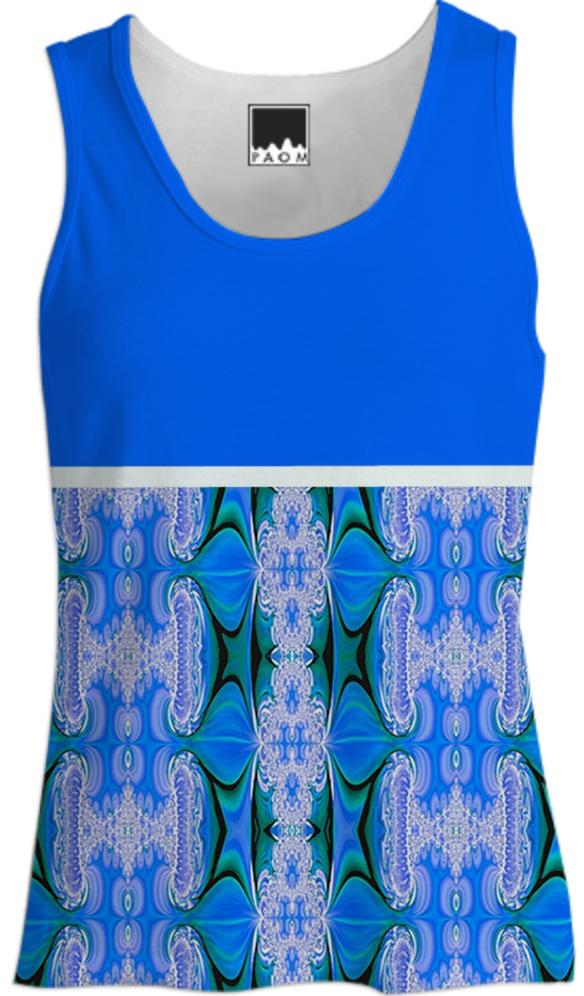 Blue Abstract Pattern Tank Top