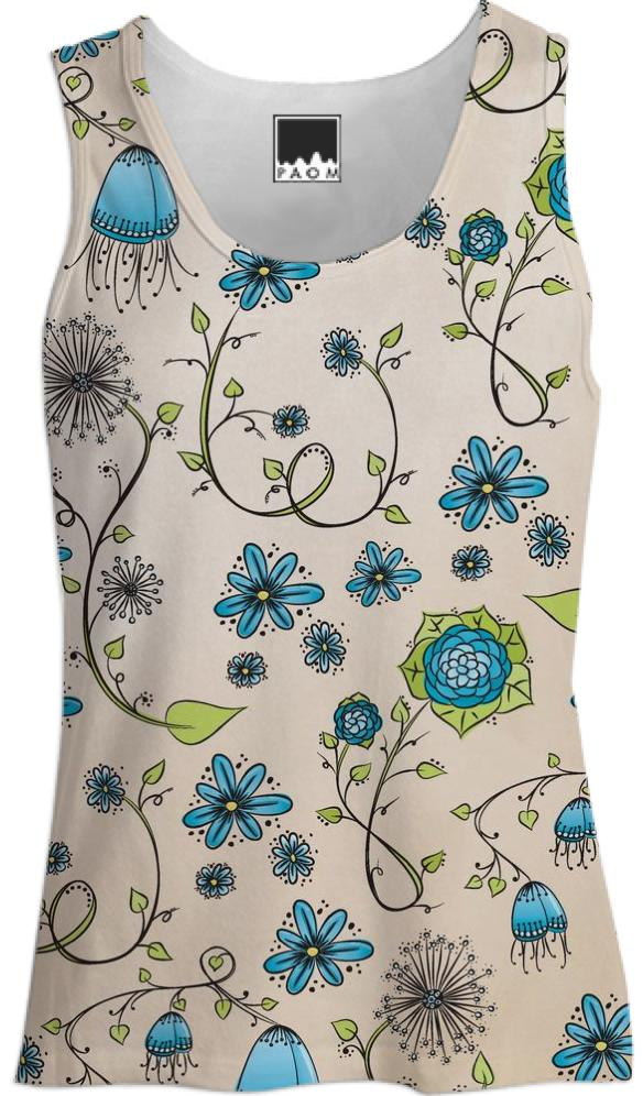 Blue on Beige Flower pattern Tank Top
