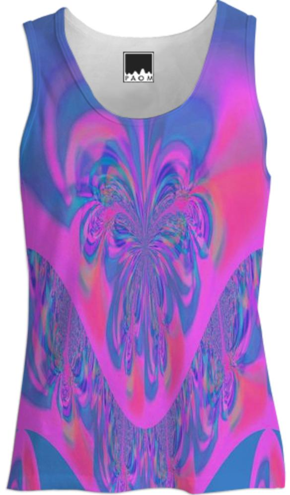 Blue Pink Abstract Tank Top