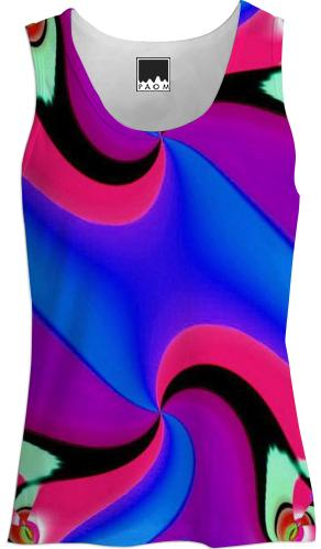 Blue Purple Red Black Double Swirl Tank Top