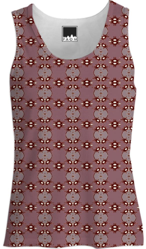 Brown Beige Abstract Sun Tank Top