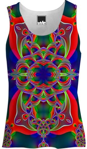 Red Green Fractal Tank Top