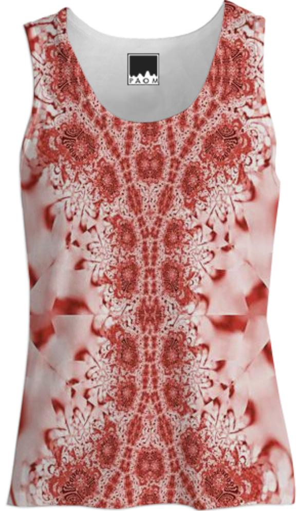 Red Pink Lace Tank Top