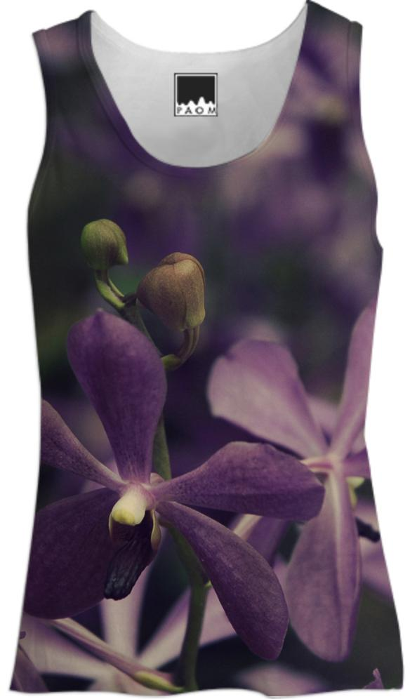 Vintage Purple Orchids Floral Tank Top