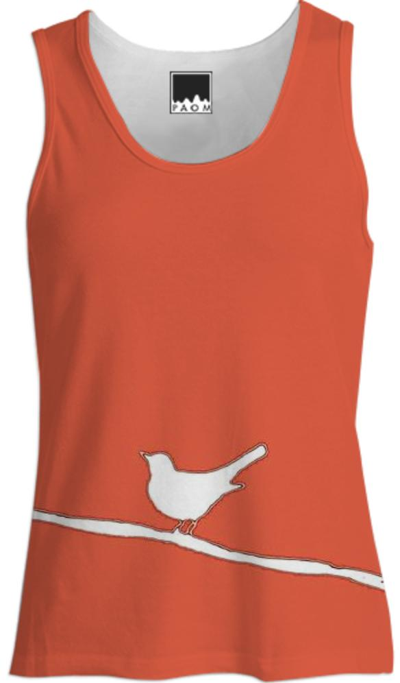 White Bird on a Wire on Red Tank Top