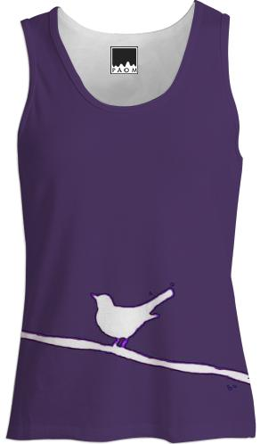 White Bird on a Wire Purple Tank Top