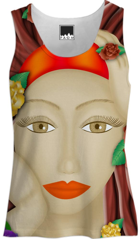 Women s Tank Top Lady and Roses