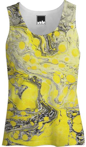 Yellow Black Marble Tank Top