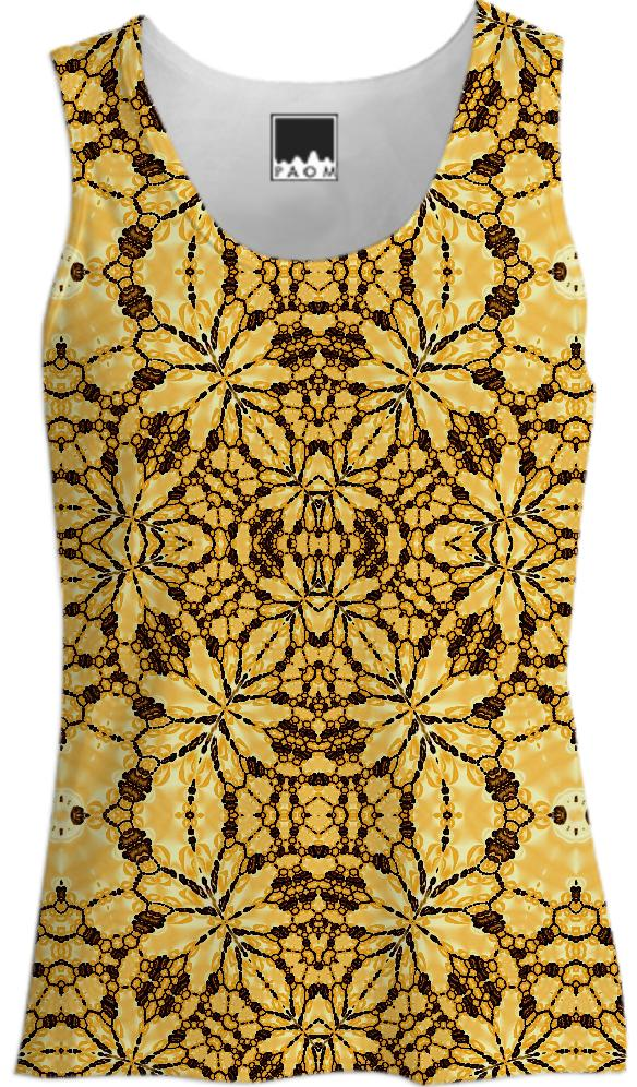 Yellow Brown Lace Tank Top