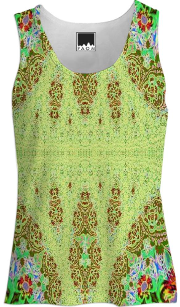 Yellow Fractal Lace Tank Top