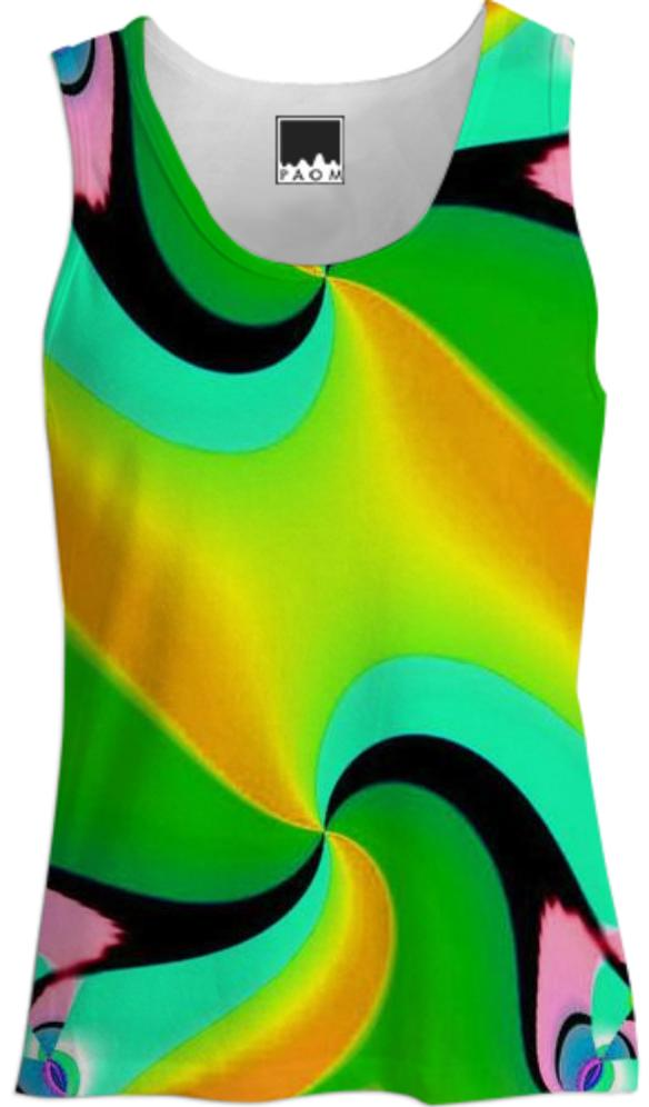 Yellow Green Double Swirl Tank Top