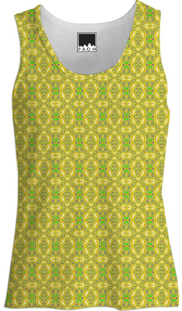 Yellow Green Pattern Tank Top
