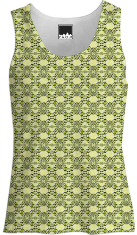 Yellow Leaf Fractal Tank Top
