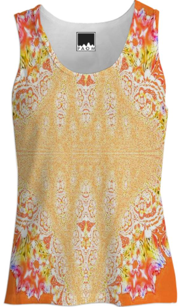 Yellow Orange Fractal Lace Tank Top