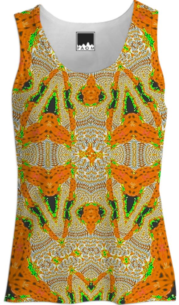 Yellow Orange Pattern Tank Top