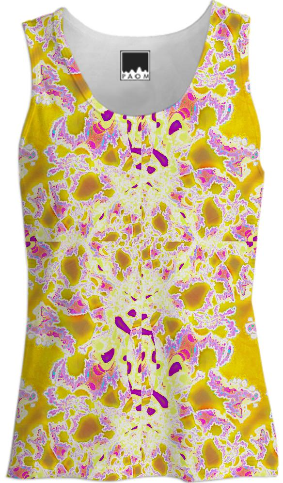 Yellow Purple Abstract Tank Top