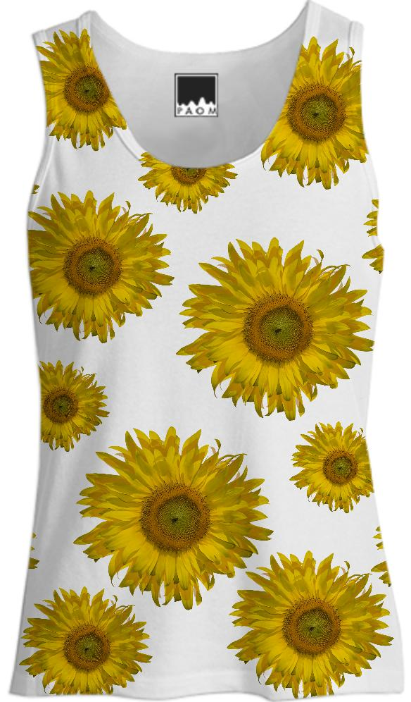 Yellow Scattered Sunflowers Tank Top