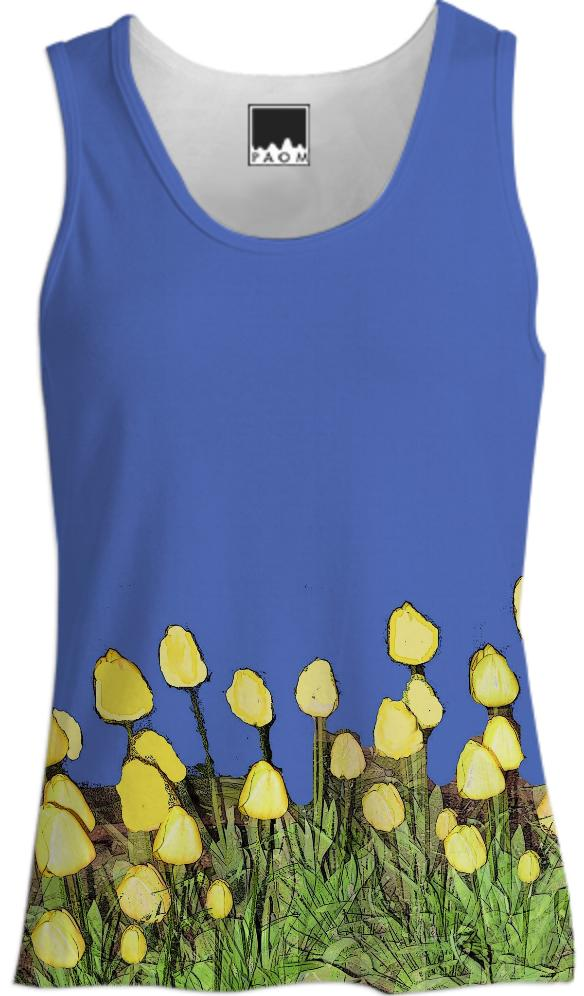 Yellow Tulips on Blue Tank Top