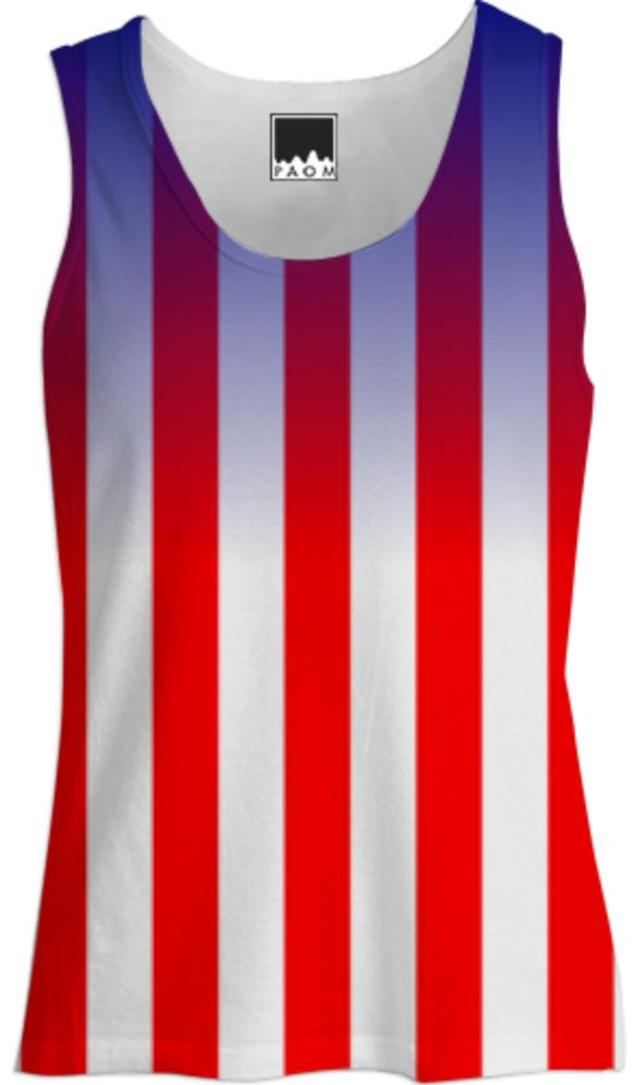 USA Red and White Stripes Saturated Blue Pattern Ladies Tank Top