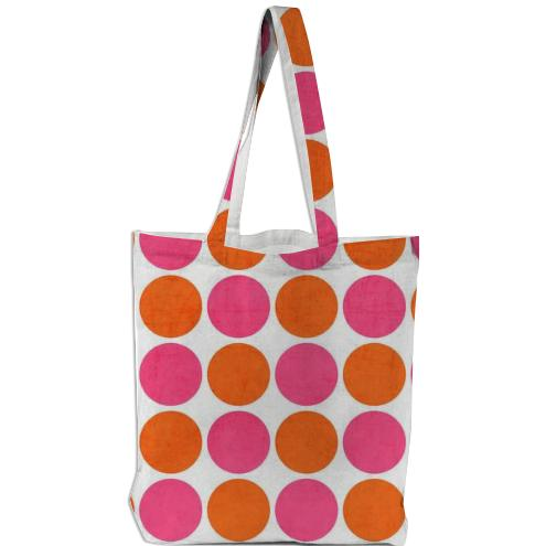 hot pink and orange dots