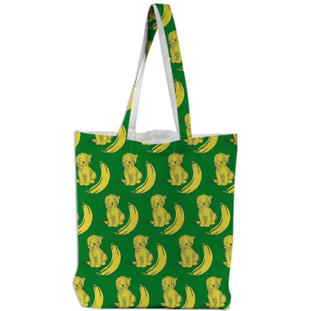 Kitty Kat Banana On A Banana Leaf Green Background Tote Bag