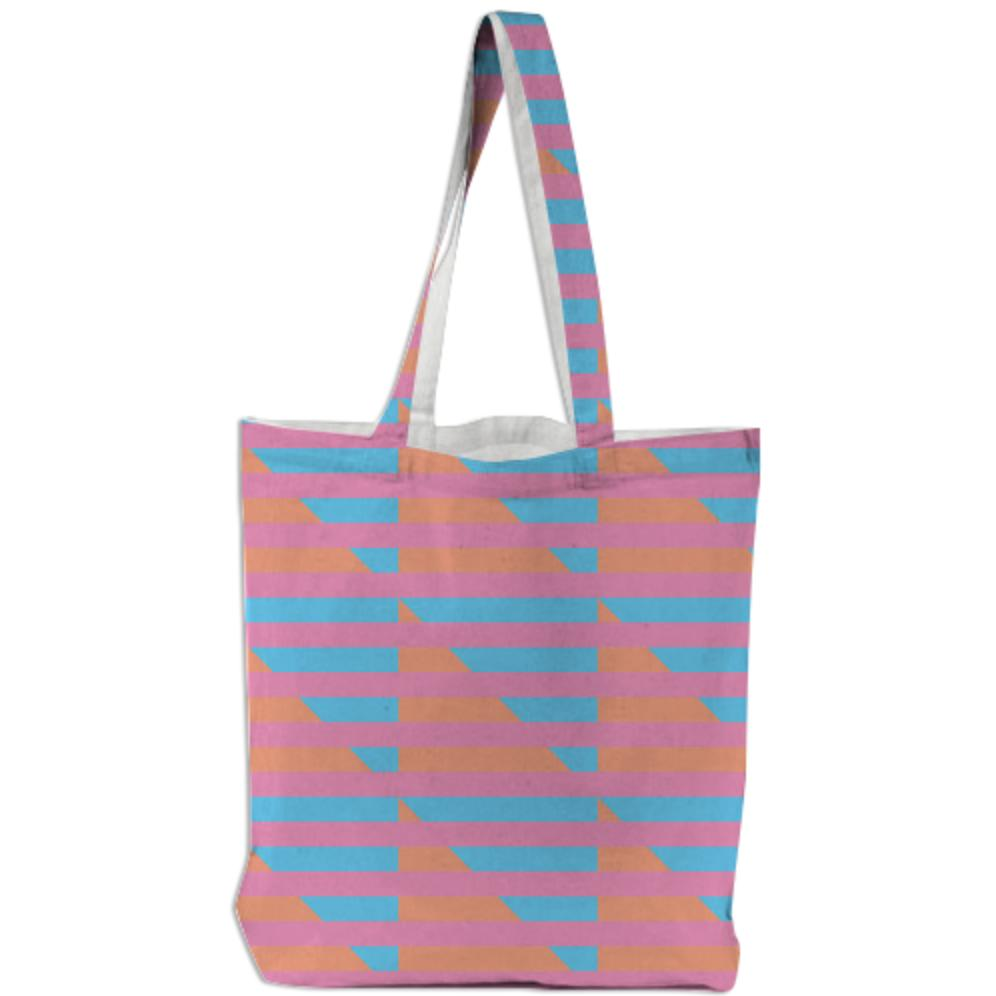 Peach Pink Blue Houndstooth Tote Bag