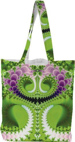 Green and Purple Fractal Canvas Tote Bag