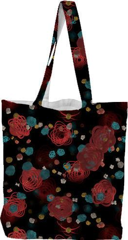 Sprouted Spirals Red and Blue Tote Bag
