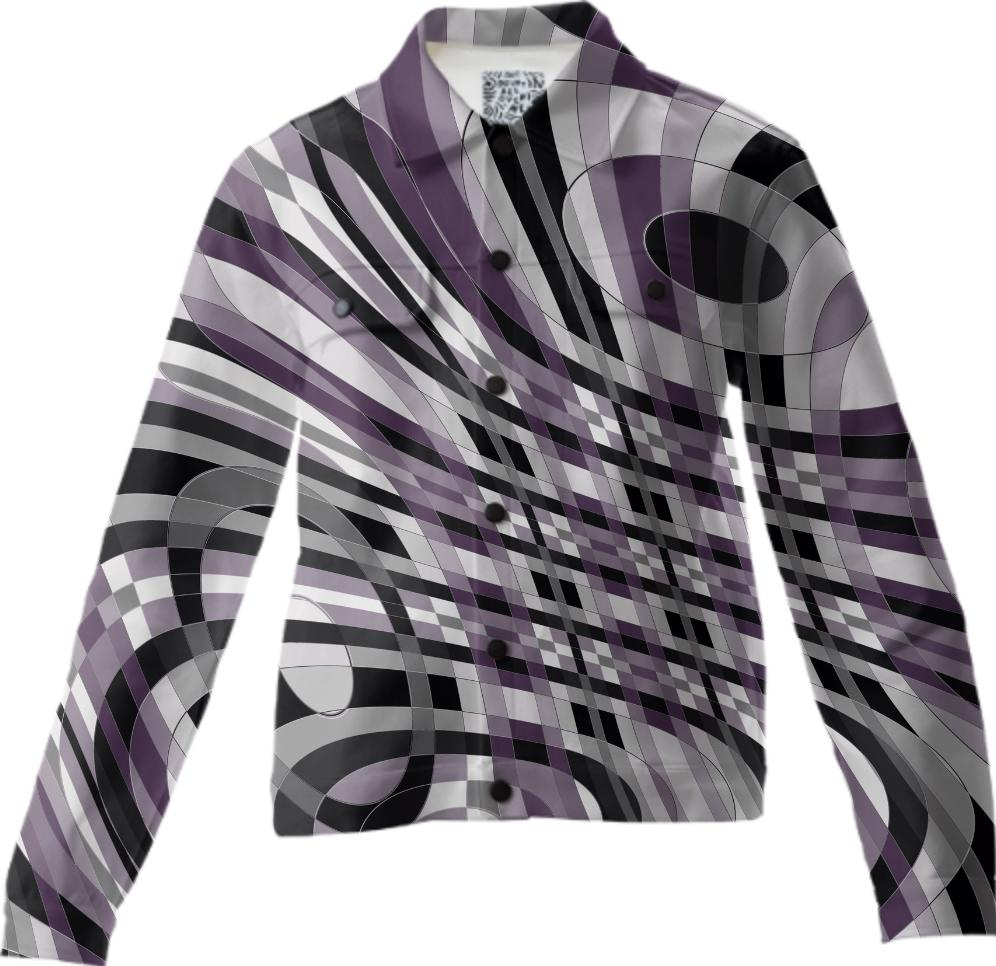 Abstract 360 Plum and Gray Twill Jacket