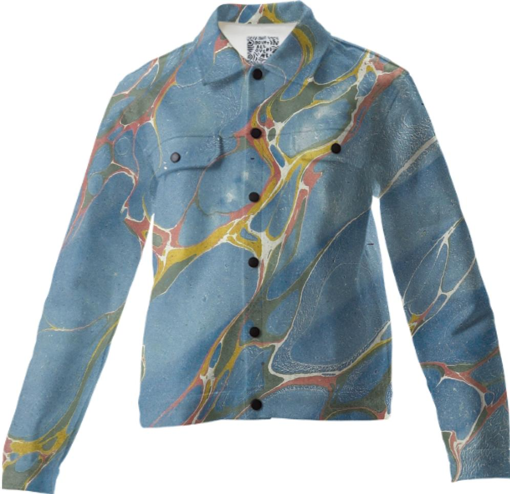 Blue Abstract Twill Jacket