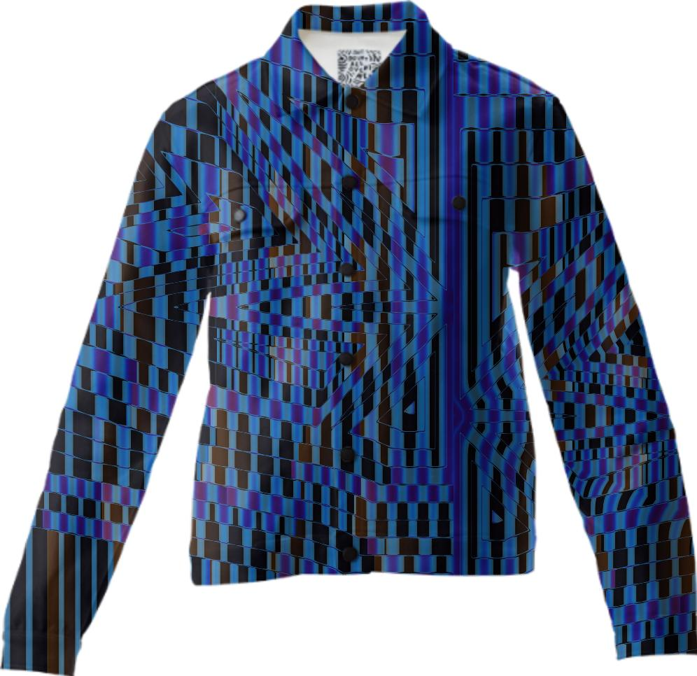 Blue and Black Abstract Mosaic Twill Jacket