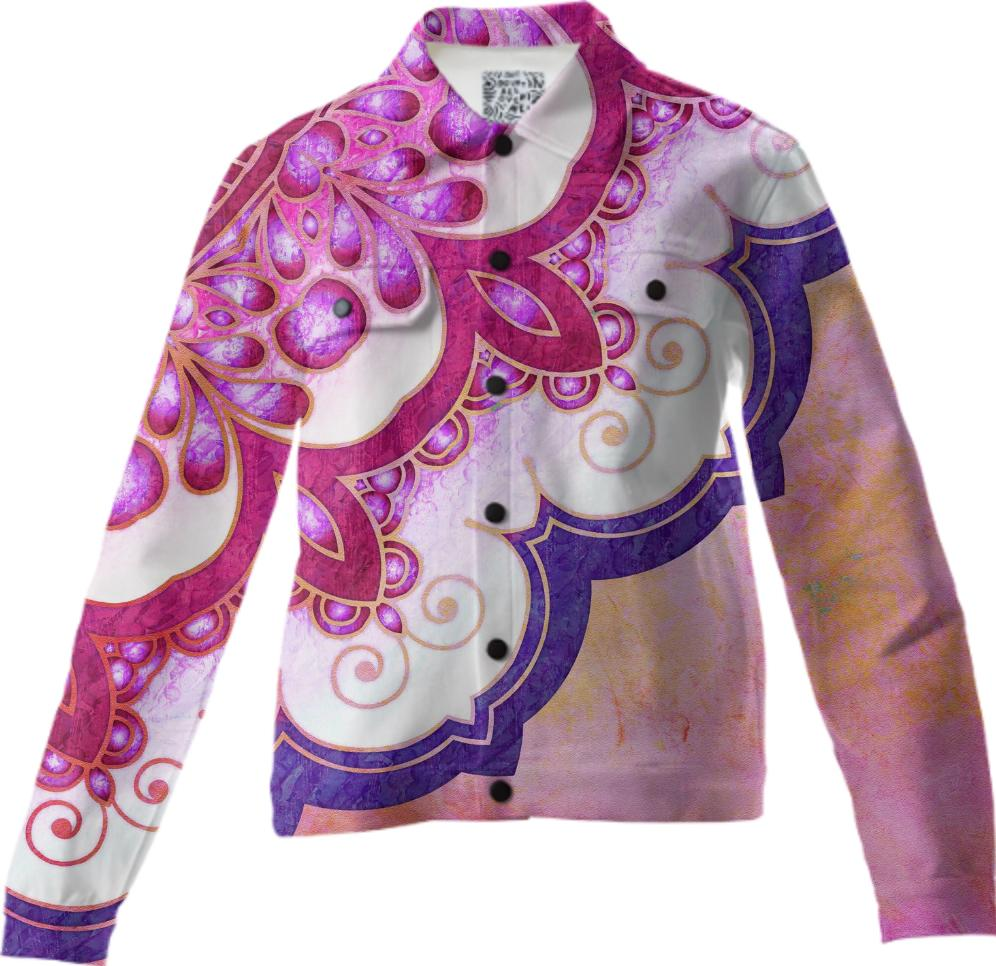 Colorful Watercolor Mandala Twill Jacket