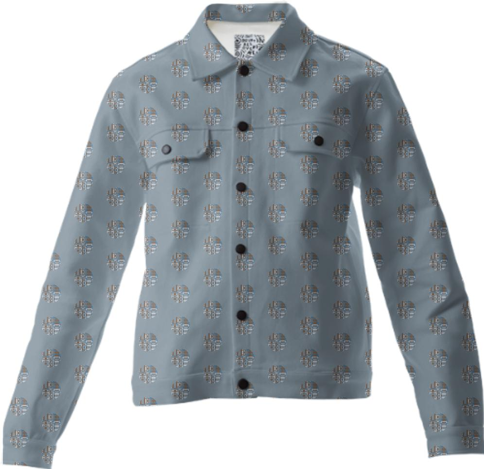Gray with Patterned Polka Dots Twill Jacket